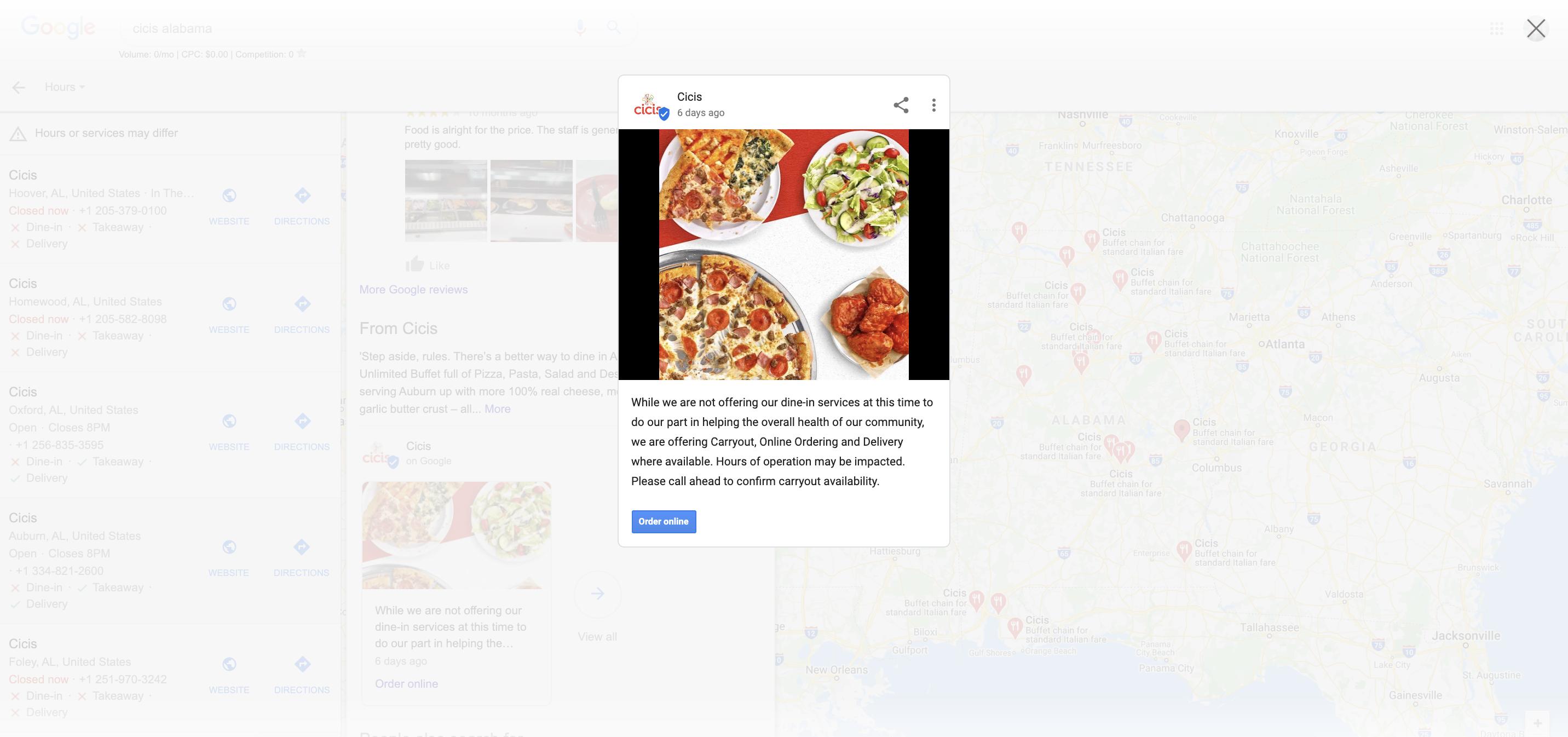 Capture d'écran du message en surbrillance isolé par rapport au reste de la page Google Maps